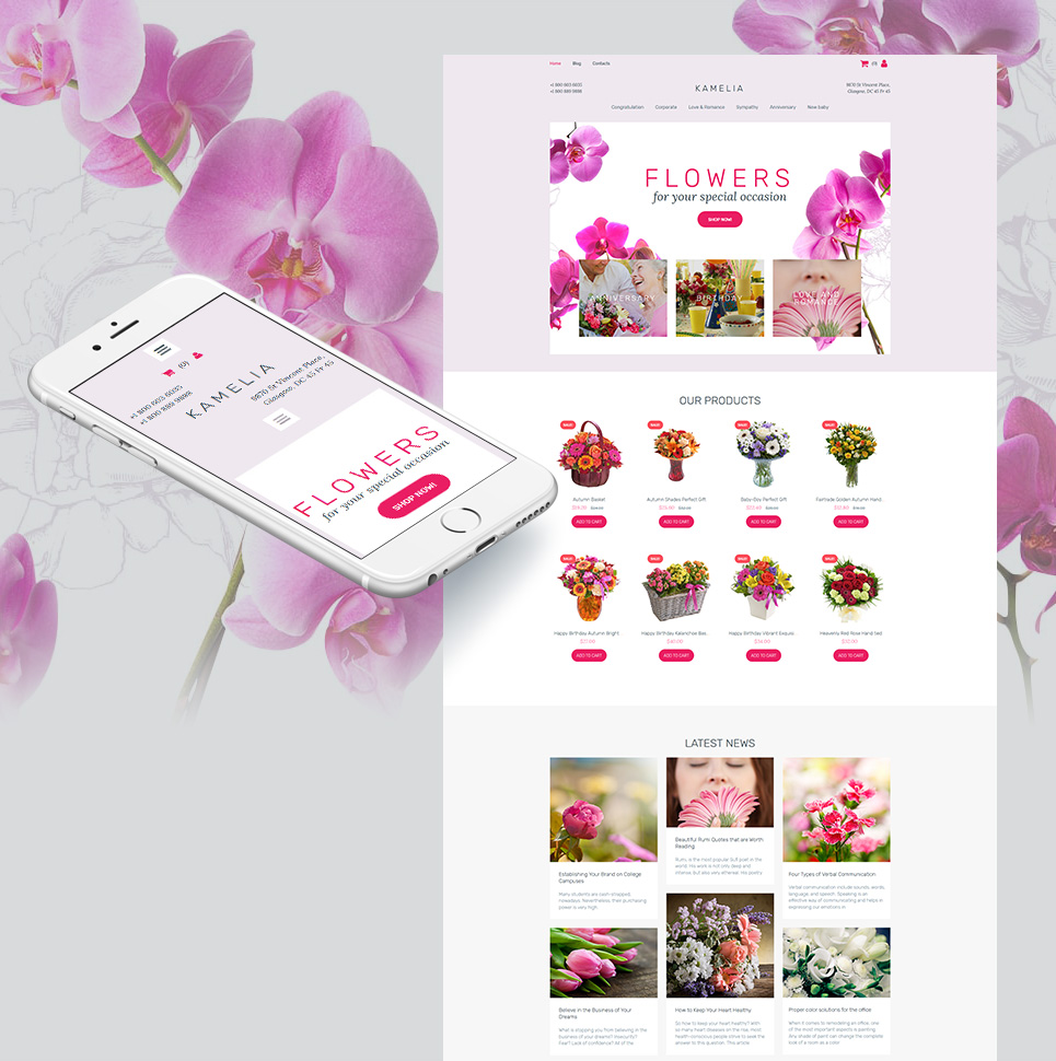 Flower Shop Responsive MotoCMS Ecommerce Template